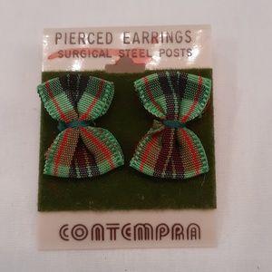 VTG 90s Preppy Mini Plaid Bow Tie Earrings 🤩